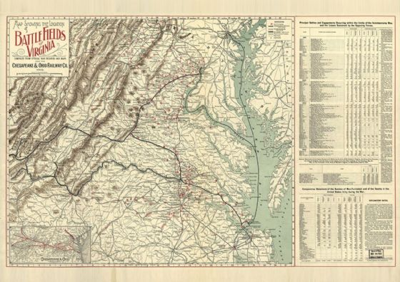 Map of Battle Fields of Virginia 1902. Print/Poster (4892)
